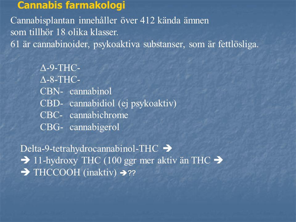 Cannabis farmakologi Cannabisplantan innehåller över 412 kända ämnen. som tillhör 18 olika klasser.