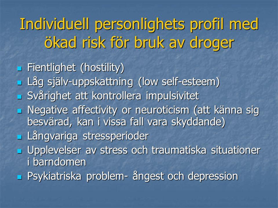 Individuell personlighets profil med ökad risk för bruk av droger