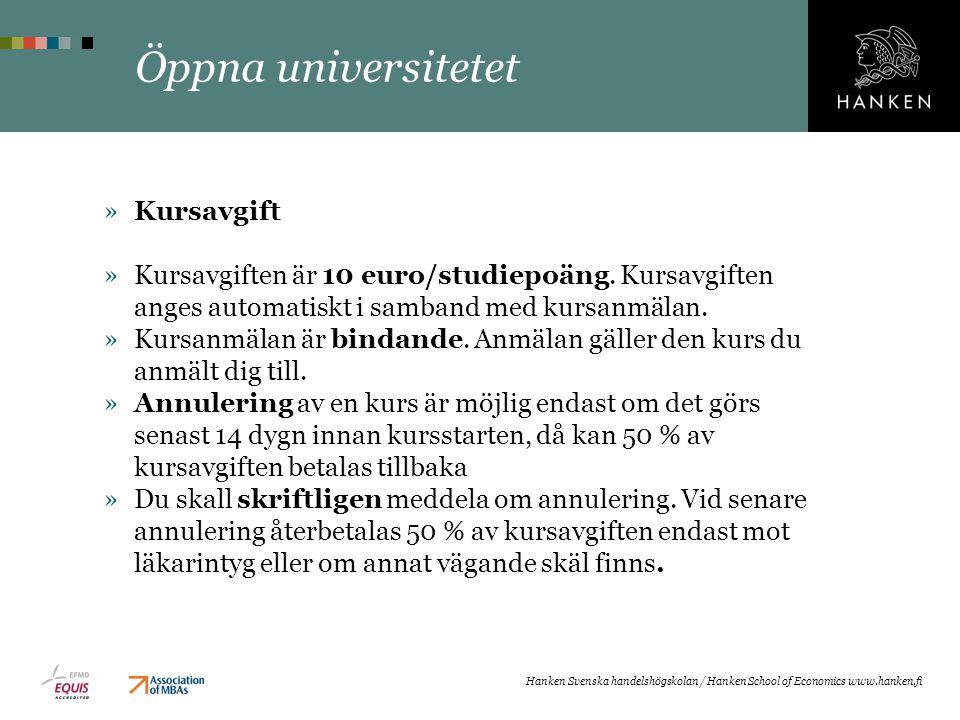 Öppna universitetet Kursavgift