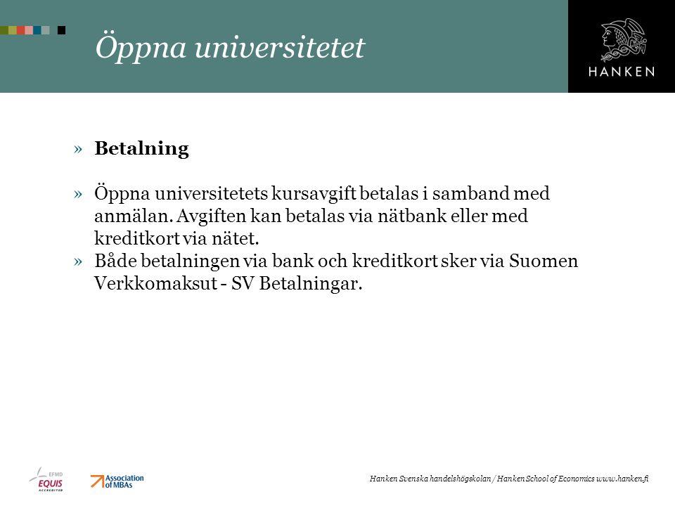 Öppna universitetet Betalning