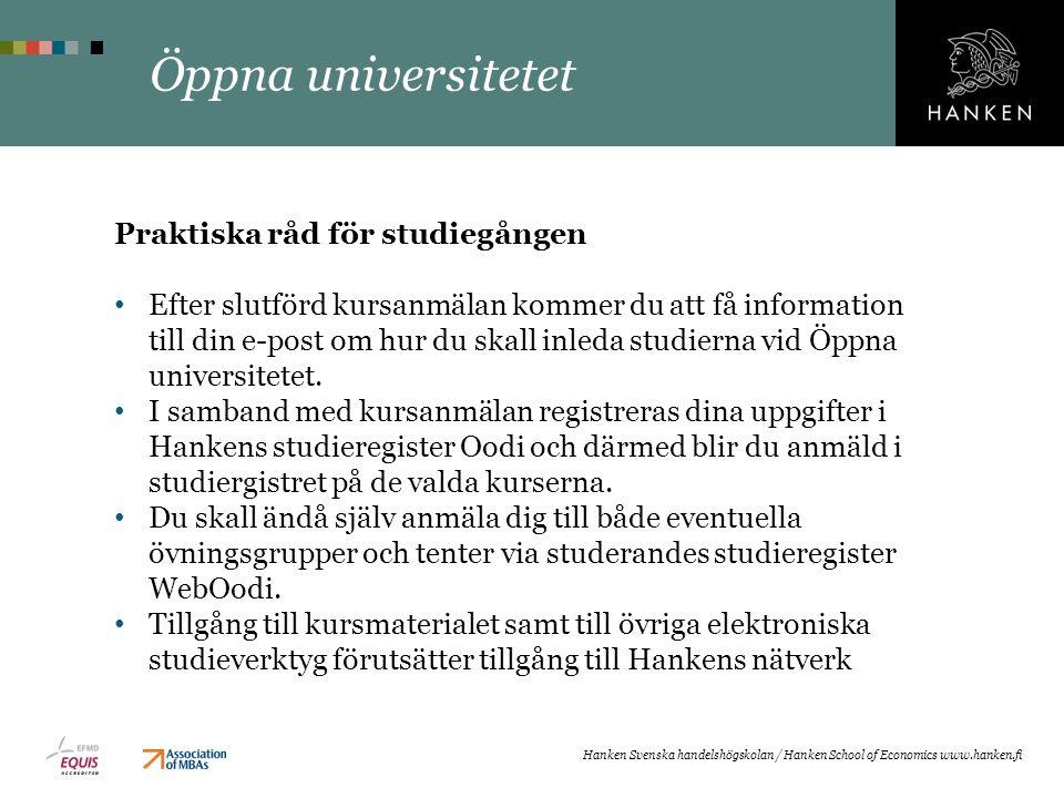 Öppna universitetet Praktiska råd för studiegången