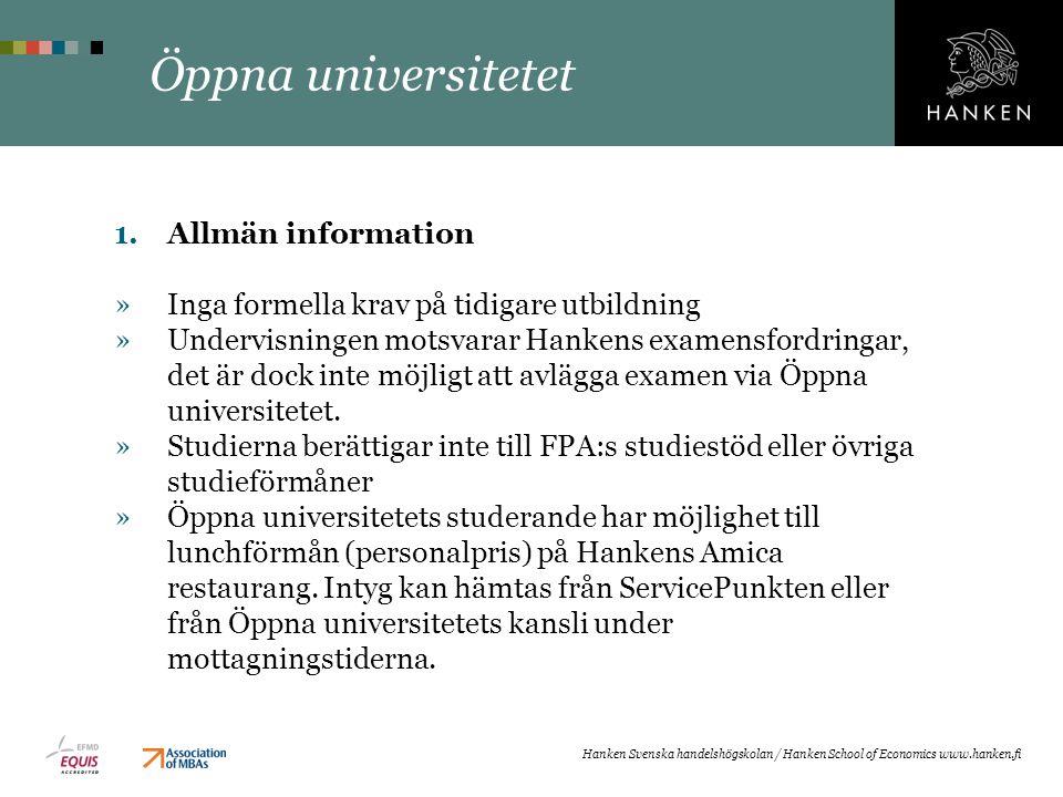 Öppna universitetet Allmän information