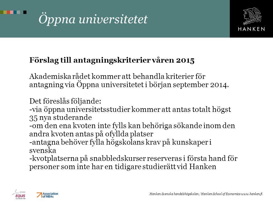 Öppna universitetet Förslag till antagningskriterier våren 2015