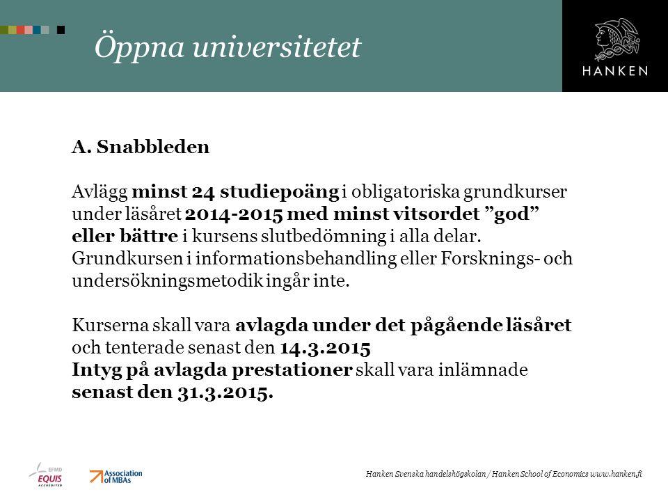 Öppna universitetet A. Snabbleden