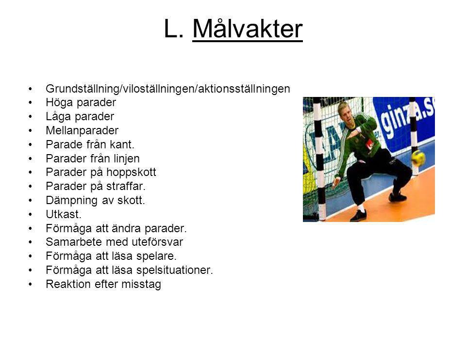 L. Målvakter Grundställning/viloställningen/aktionsställningen