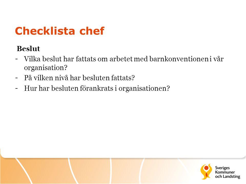 Checklista chef Beslut