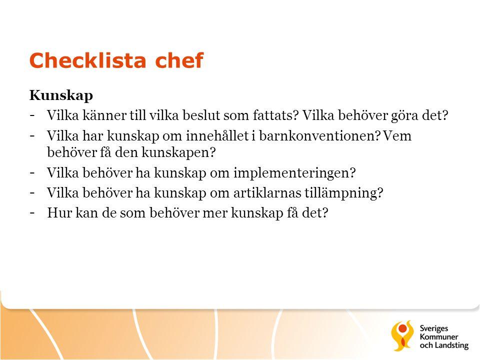 Checklista chef Kunskap