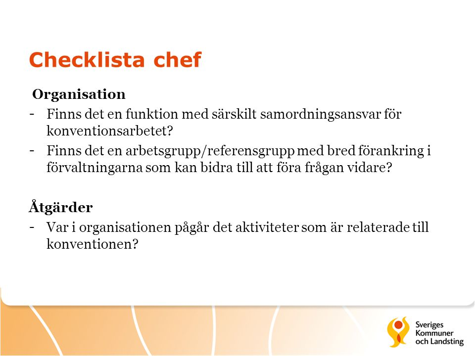 Checklista chef Organisation