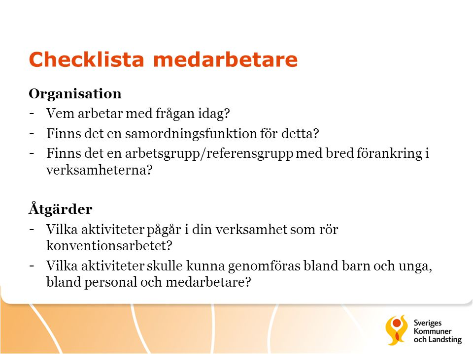 Checklista medarbetare
