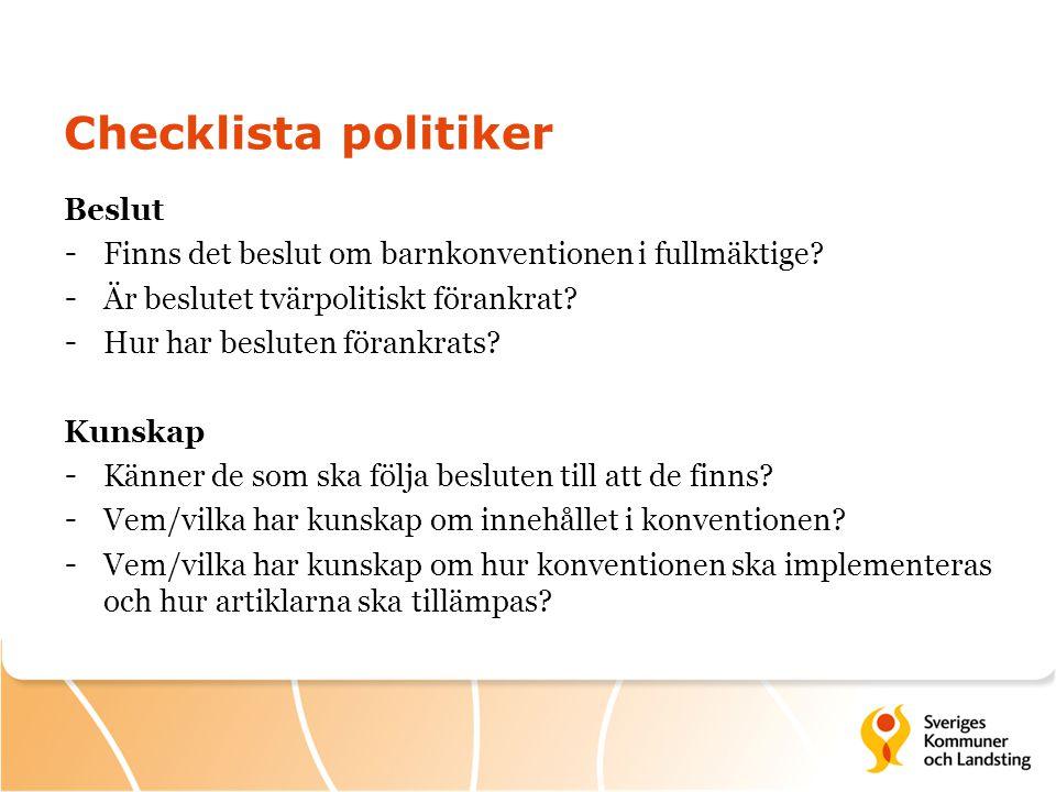 Checklista politiker Beslut