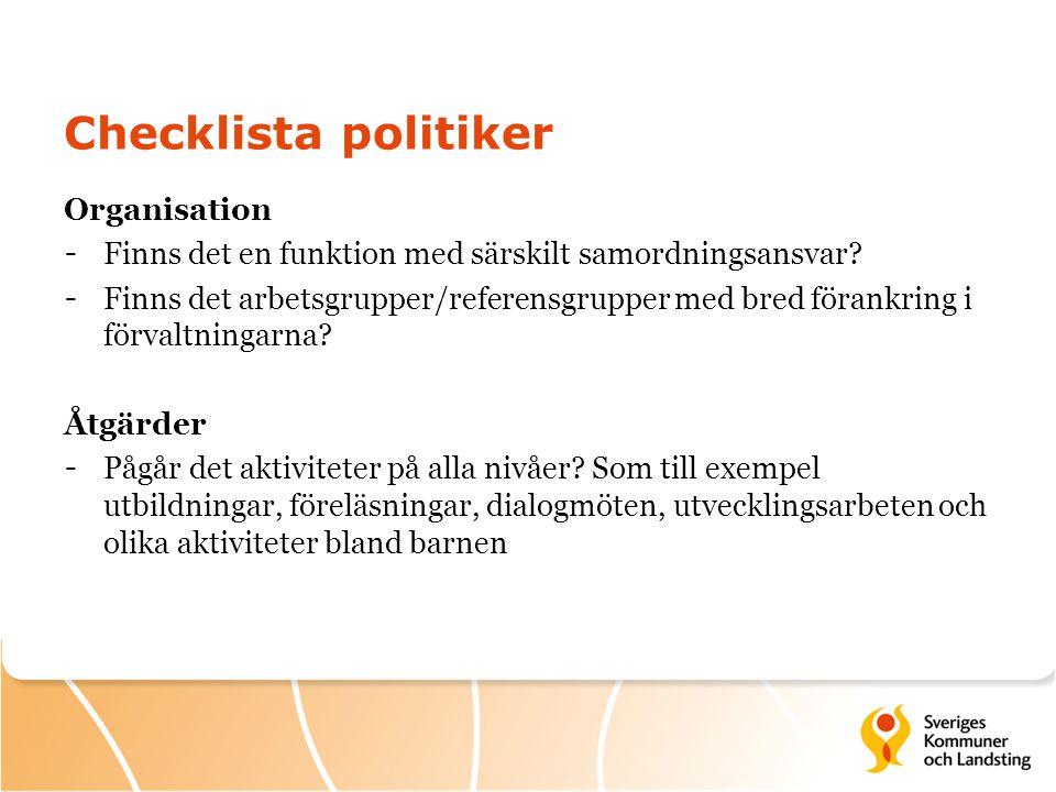 Checklista politiker Organisation