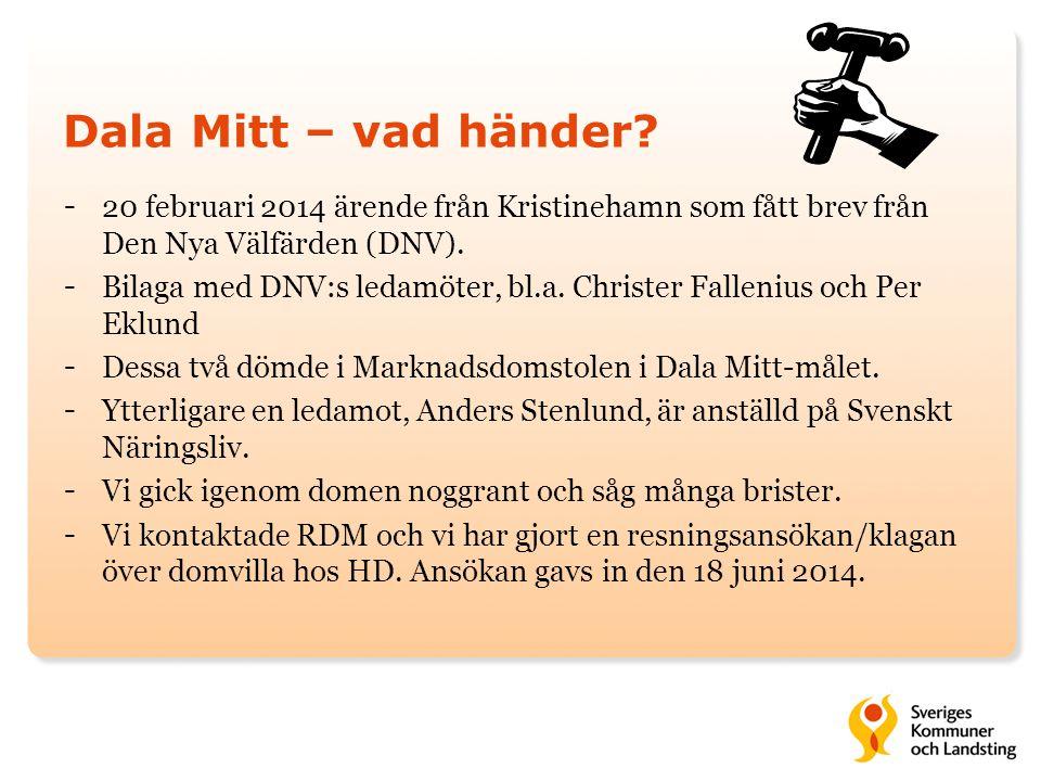 Dala Mitt – vad händer 20 februari 2014 ärende från Kristinehamn som fått brev från Den Nya Välfärden (DNV).