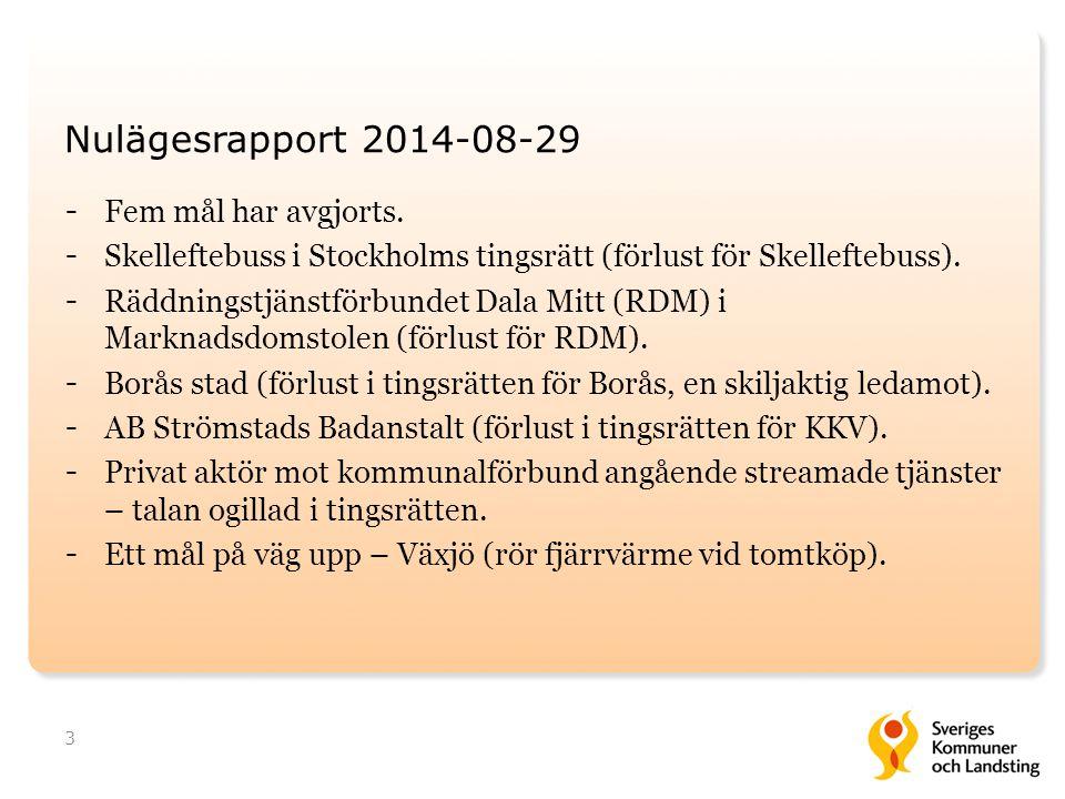 Nulägesrapport 2014-08-29 Fem mål har avgjorts.