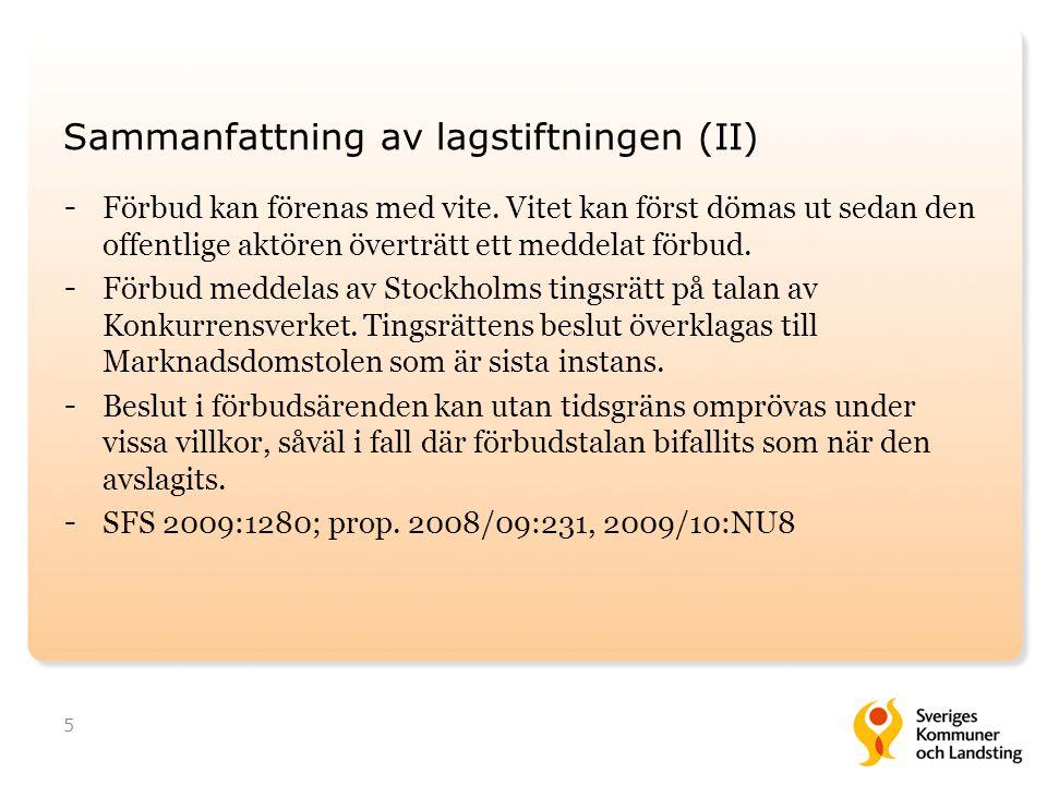 Sammanfattning av lagstiftningen (II)