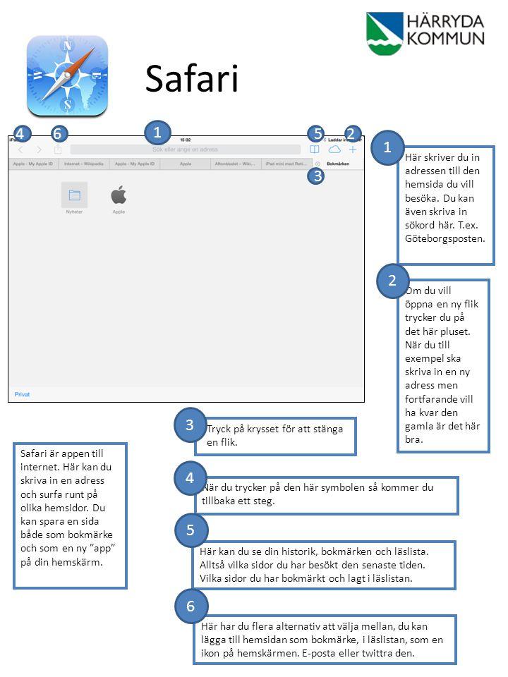 Safari 4. 6. 1. 5. 2. 1. Här skriver du in adressen till den hemsida du vill besöka. Du kan även skriva in sökord här. T.ex. Göteborgsposten.