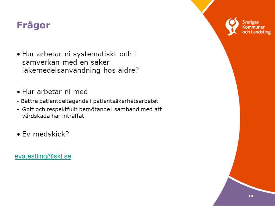 Frågor Hur arbetar ni systematiskt och i samverkan med en säker läkemedelsanvändning hos äldre Hur arbetar ni med.