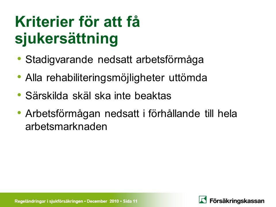 Kriterier för att få sjukersättning