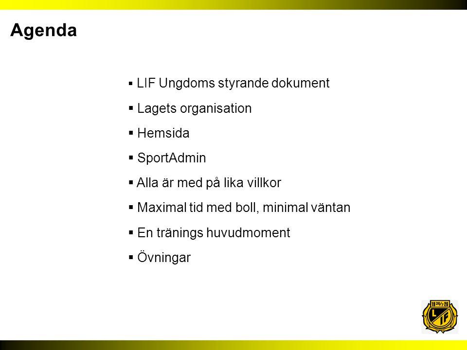 Agenda Lagets organisation Hemsida SportAdmin
