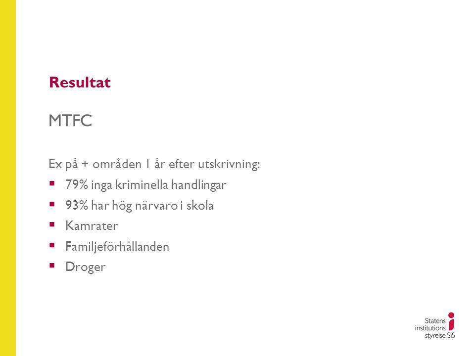 MTFC Resultat Ex på + områden 1 år efter utskrivning:
