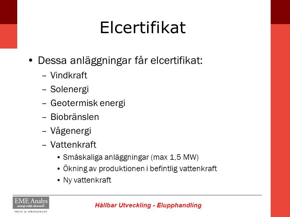 Elcertifikat Dessa anläggningar får elcertifikat: Vindkraft Solenergi
