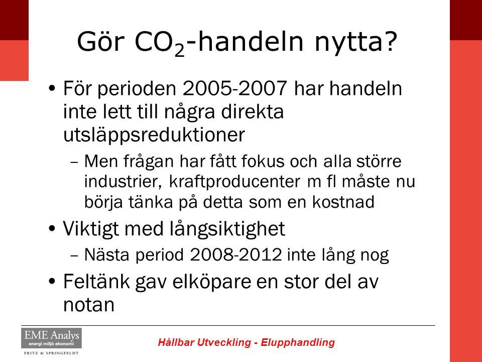 Gör CO2-handeln nytta För perioden 2005-2007 har handeln inte lett till några direkta utsläppsreduktioner.
