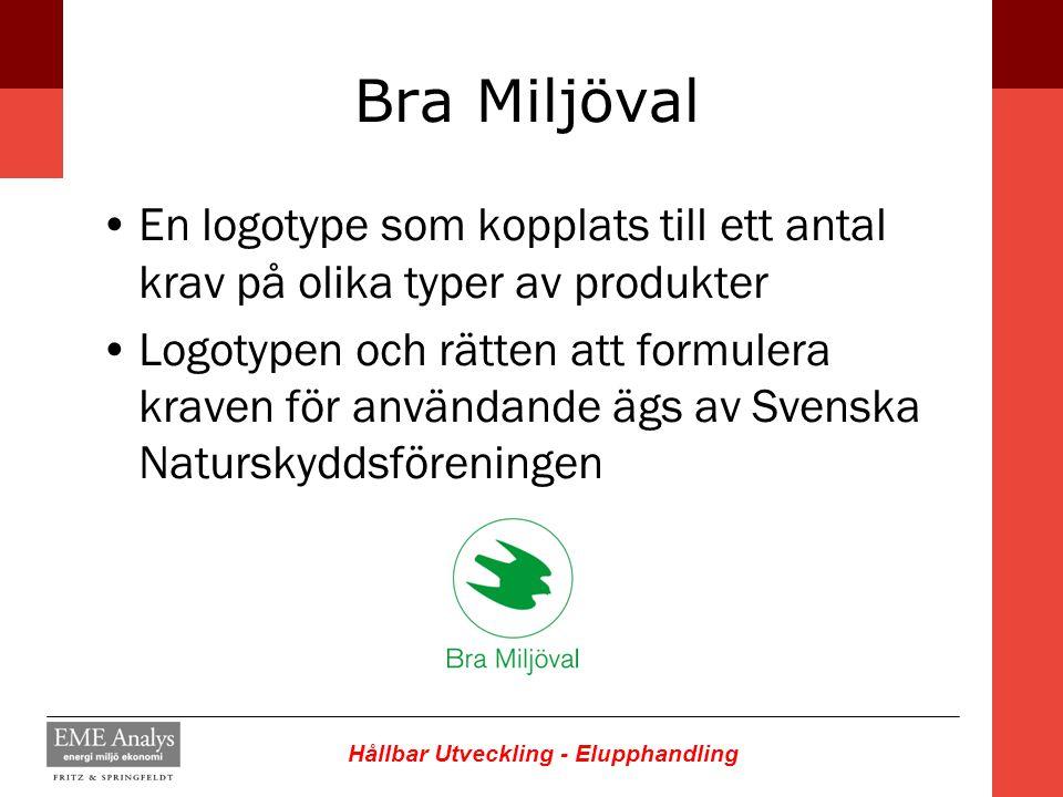 Bra Miljöval En logotype som kopplats till ett antal krav på olika typer av produkter.