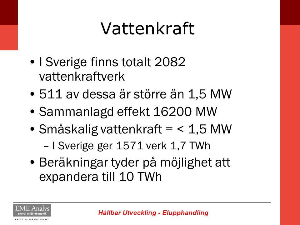 Vattenkraft I Sverige finns totalt 2082 vattenkraftverk