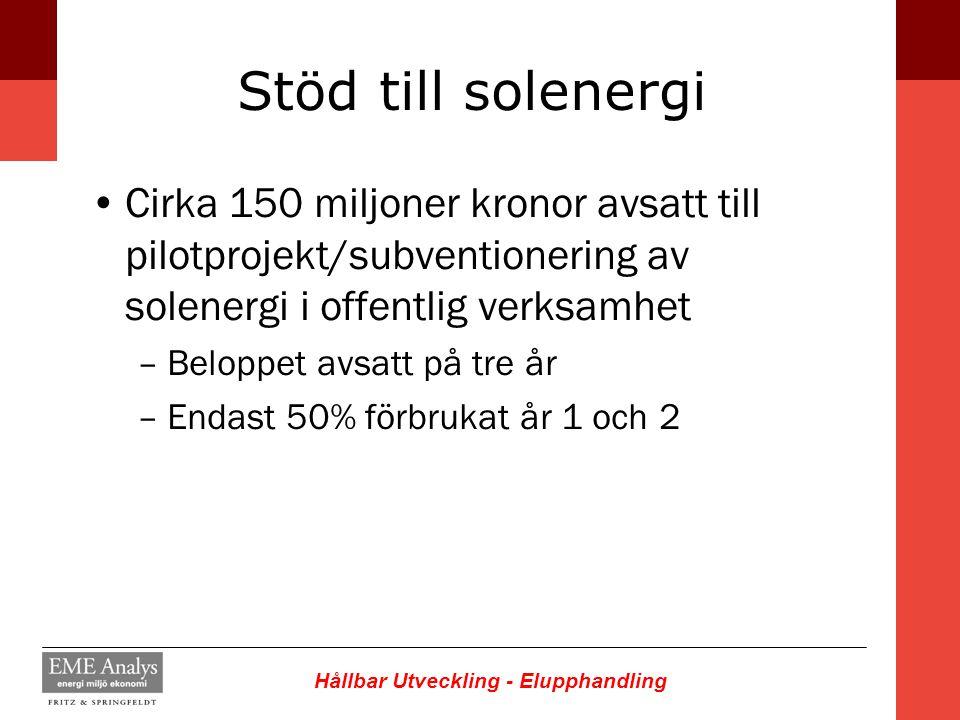 Stöd till solenergi Cirka 150 miljoner kronor avsatt till pilotprojekt/subventionering av solenergi i offentlig verksamhet.
