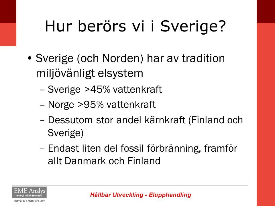 Hur berörs vi i Sverige Sverige (och Norden) har av tradition miljövänligt elsystem. Sverige >45% vattenkraft.