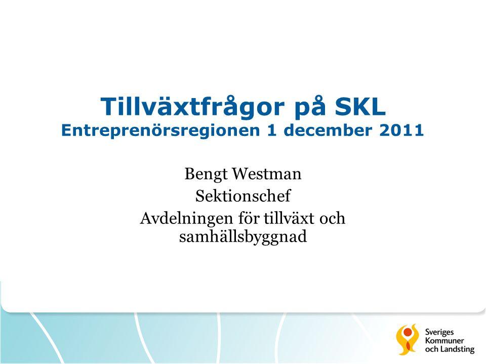 Tillväxtfrågor på SKL Entreprenörsregionen 1 december 2011