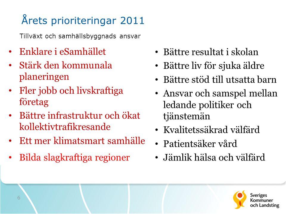 Årets prioriteringar 2011 Enklare i eSamhället