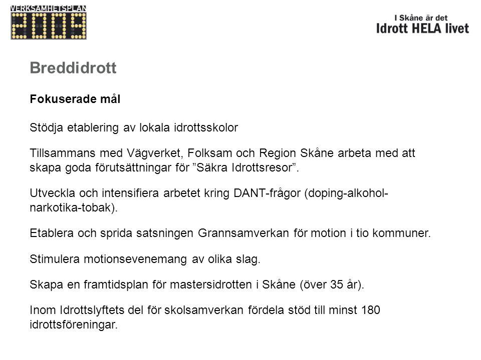 Breddidrott Fokuserade mål Stödja etablering av lokala idrottsskolor