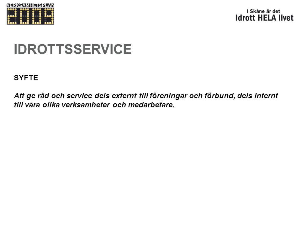 IDROTTSSERVICE SYFTE.