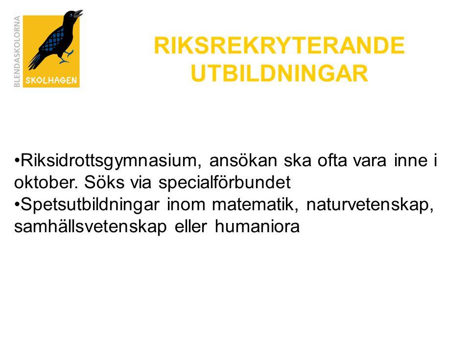 RIKSREKRYTERANDE UTBILDNINGAR