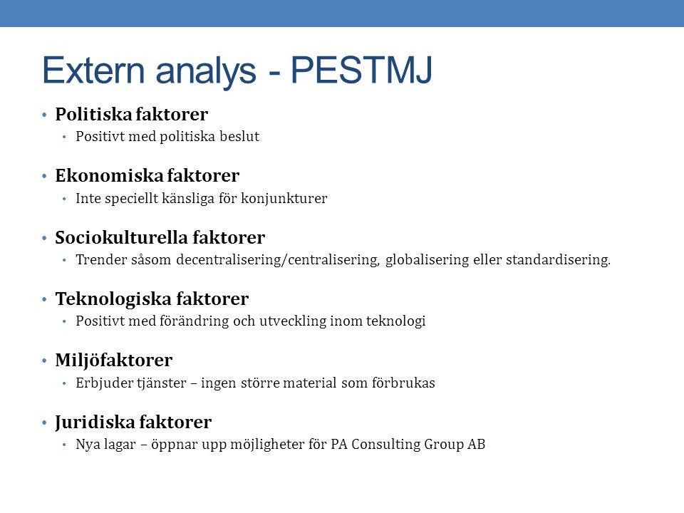 Extern analys - PESTMJ Politiska faktorer Ekonomiska faktorer