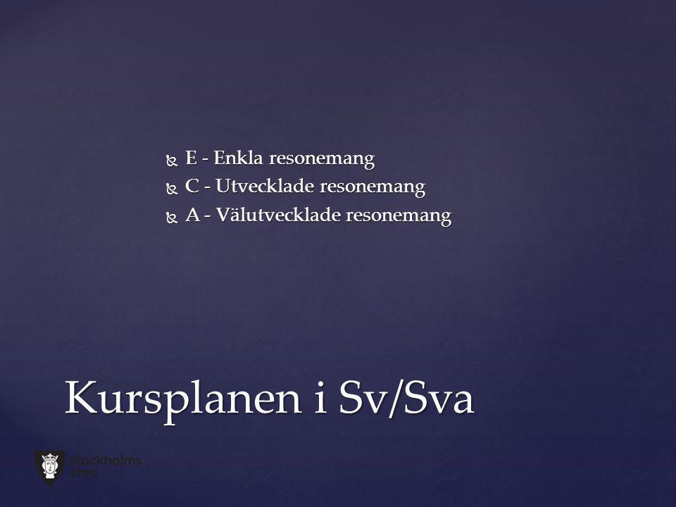 Kursplanen i Sv/Sva E - Enkla resonemang C - Utvecklade resonemang