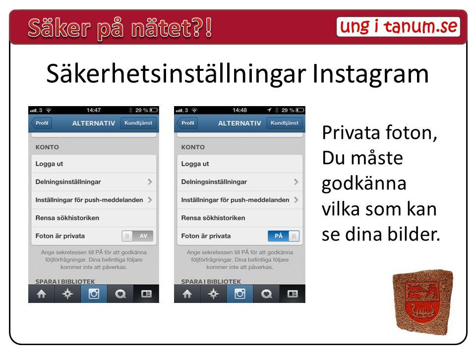 Säkerhetsinställningar Instagram