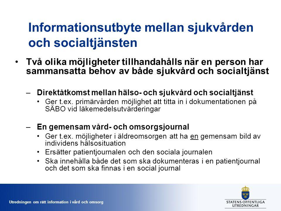 Informationsutbyte mellan sjukvården och socialtjänsten
