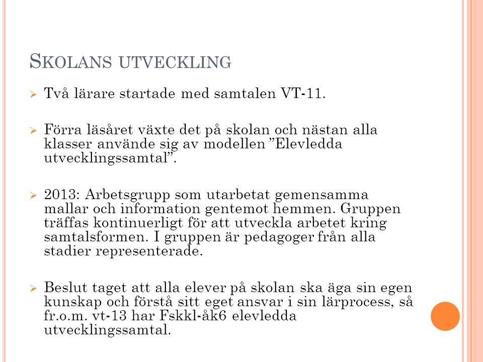 Skolans utveckling Två lärare startade med samtalen VT-11.