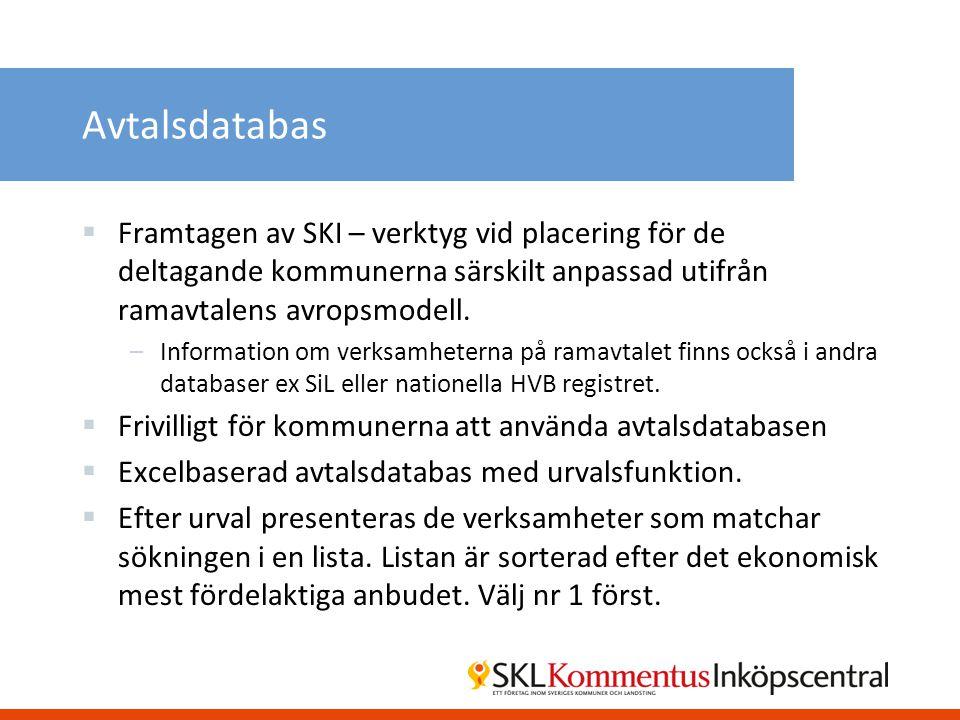 Avtalsdatabas Framtagen av SKI – verktyg vid placering för de deltagande kommunerna särskilt anpassad utifrån ramavtalens avropsmodell.