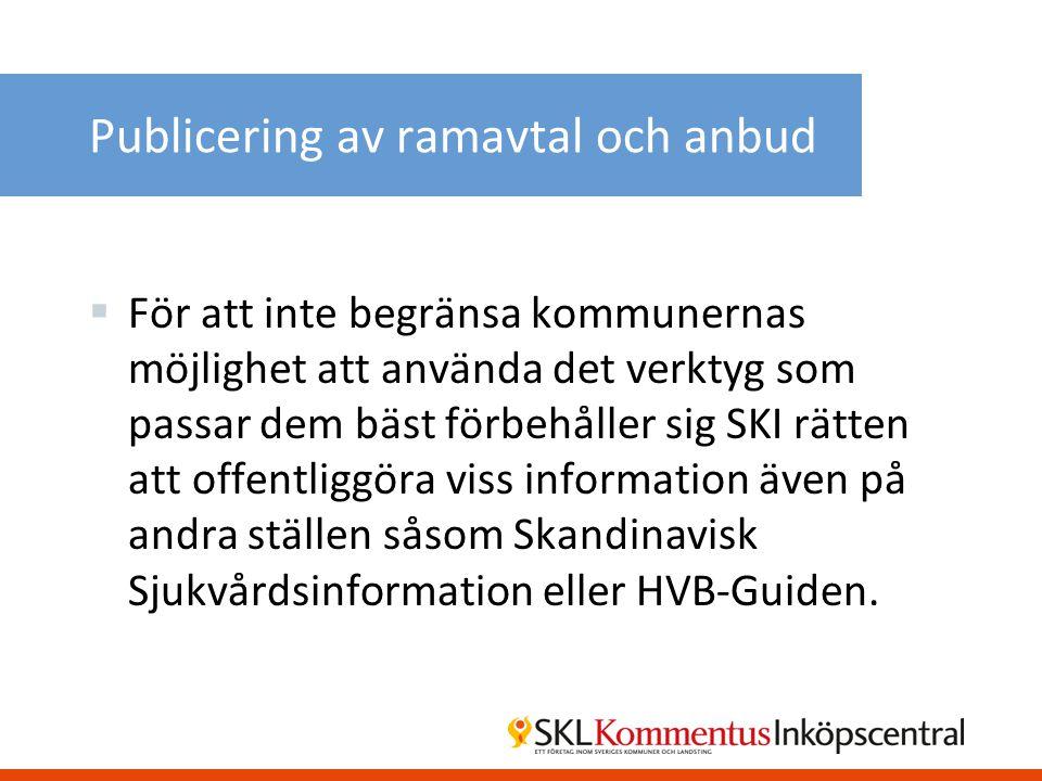 Publicering av ramavtal och anbud
