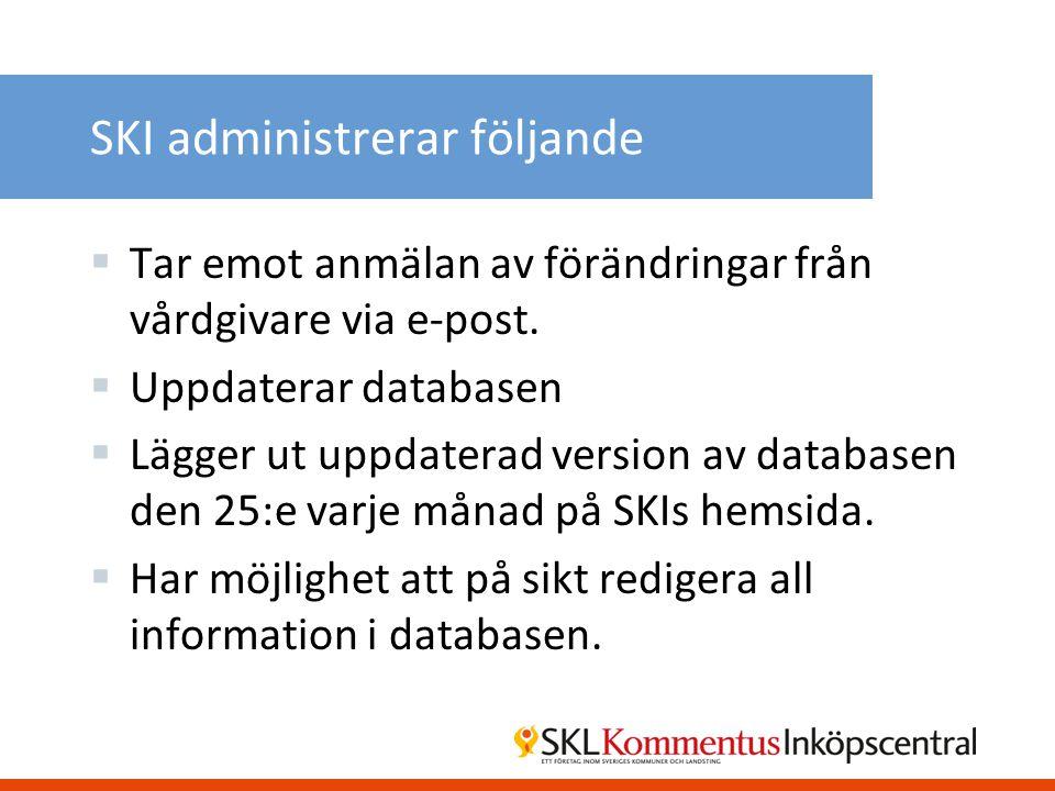 SKI administrerar följande