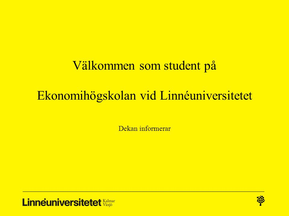 Välkommen som student på Ekonomihögskolan vid Linnéuniversitetet
