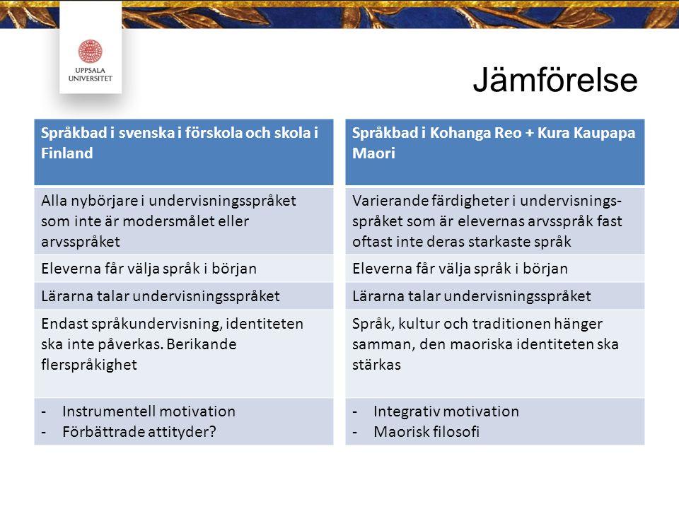Jämförelse Språkbad i svenska i förskola och skola i Finland