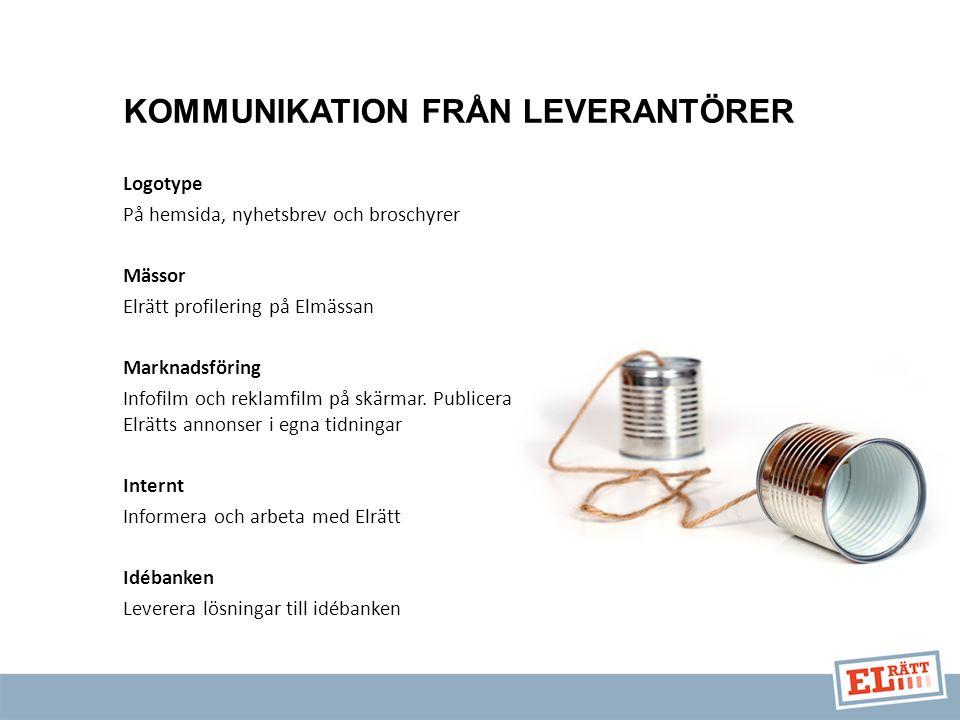 KOMMUNIKATION FRÅN LEVERANTÖRER