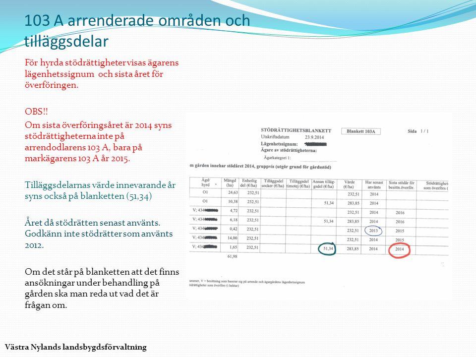 103 A arrenderade områden och tilläggsdelar