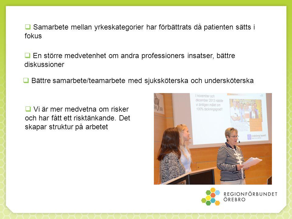 Samarbete mellan yrkeskategorier har förbättrats då patienten sätts i fokus