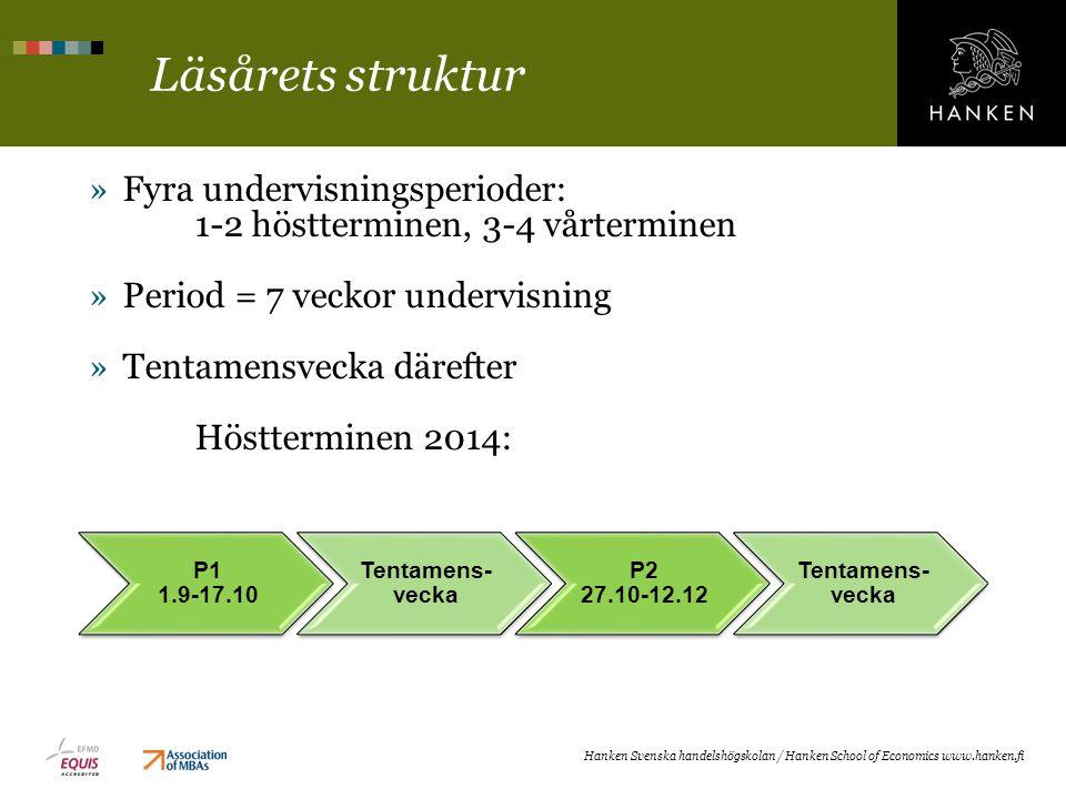 Läsårets struktur Fyra undervisningsperioder: 1-2 höstterminen, 3-4 vårterminen. Period = 7 veckor undervisning.
