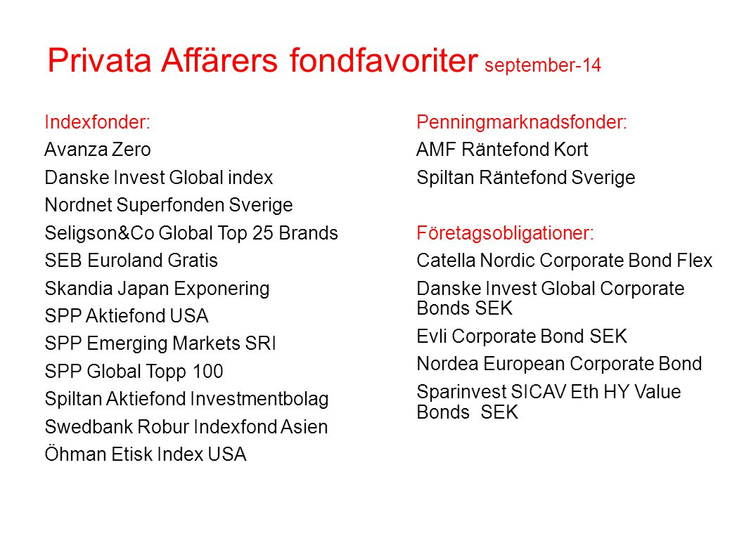 Privata Affärers fondfavoriter september-14