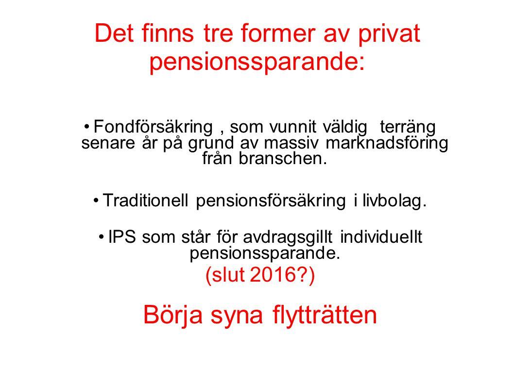 Det finns tre former av privat pensionssparande: